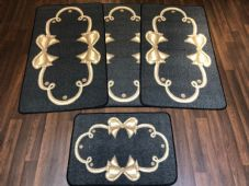 ROMANY GYPSY WASHABLES SET OF TOURER SIZE 67X120CM MATS/RUGS CHARCOAL/BEIGE BOW